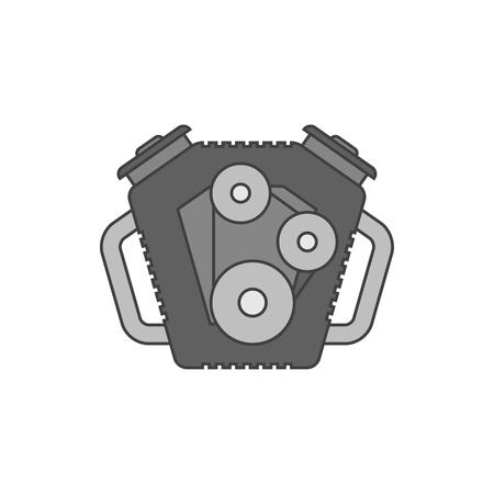 auto repair: Car engine flat line icon Illustration
