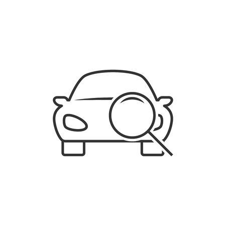 Car diagnostic line icon on white background, vector illustration.
