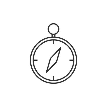 Compass line icon flat design vector illustration