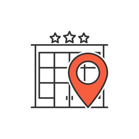 Hotel location line icon