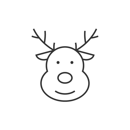Deer line icon Vector illustration isolated on white background.