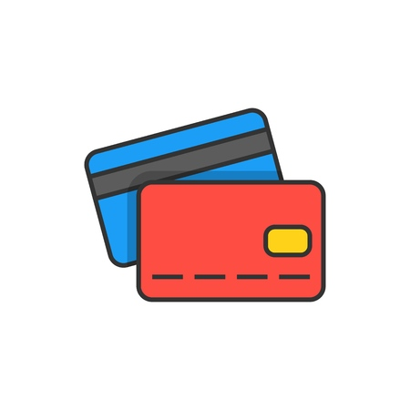 Credit card flat line icon