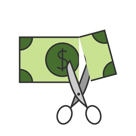 Tijeras cortando dinero icono de línea plana