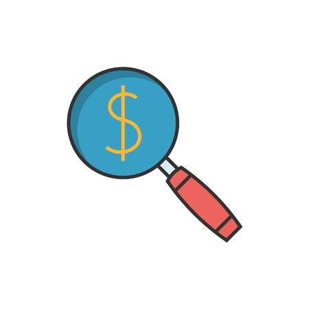 Magnifying glass with dollar sign flat line icon