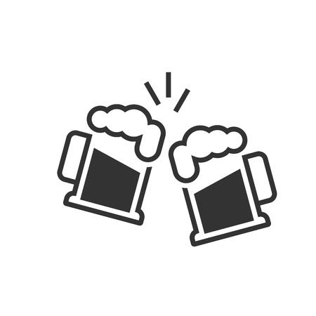 Icona di bicchieri di birra tostatura su bianco Vettoriali