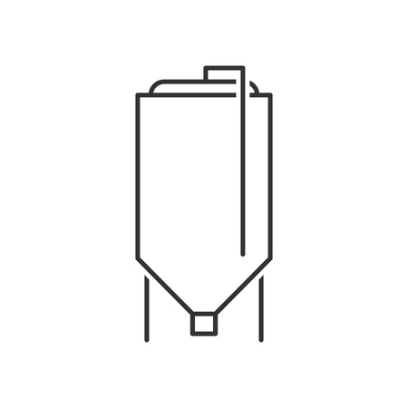 Brewery tank outline icon on white