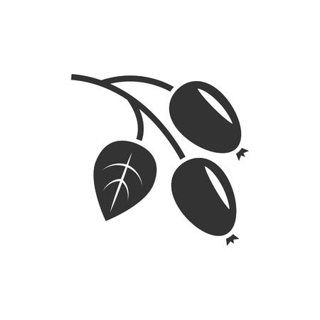 Rosehip icon black on whit ebackground Illusztráció