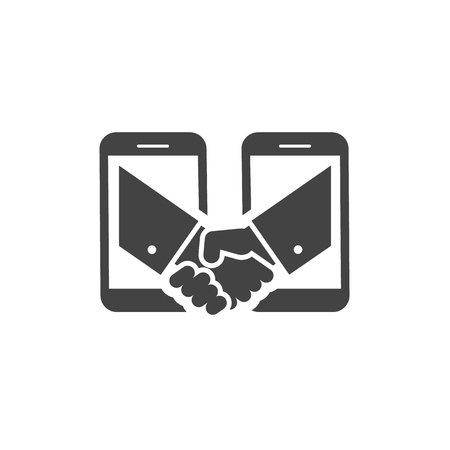 Business handshake via phones icon.Business concept Ilustrace