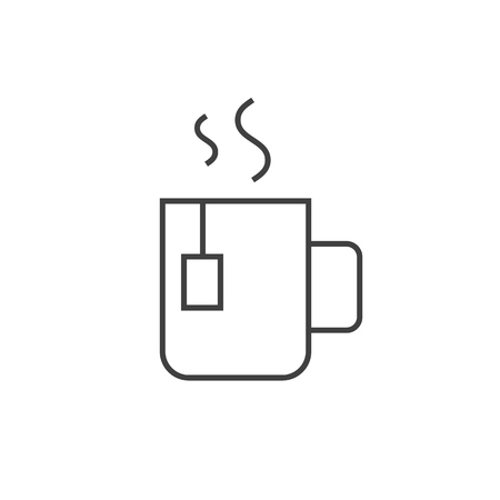 Cup of tea outline icon on white background