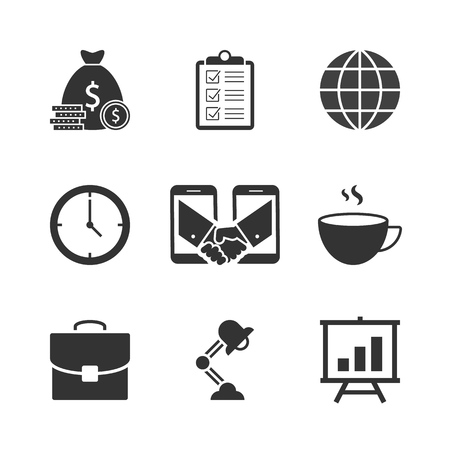 Business black icons on white background
