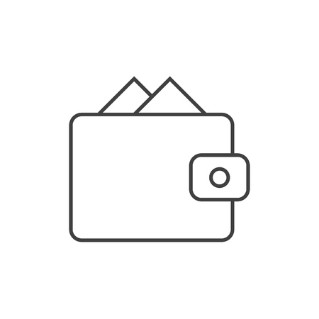 Wallet outline icon on white background