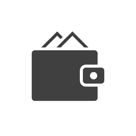 Wallet black icon on white background