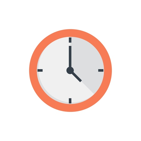 Office clock flat icon on white background Ilustrace