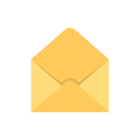 Empty envelope flat icon on white background