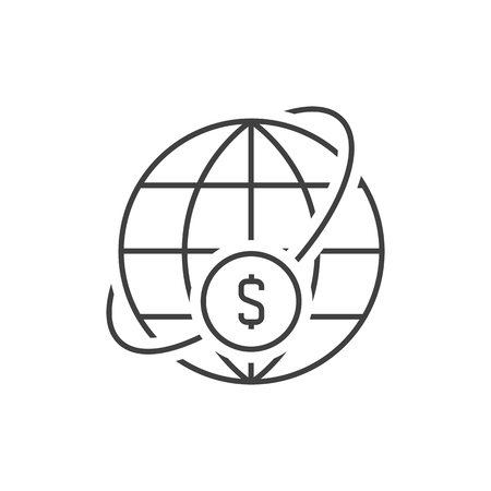 Money world transfer outline icon