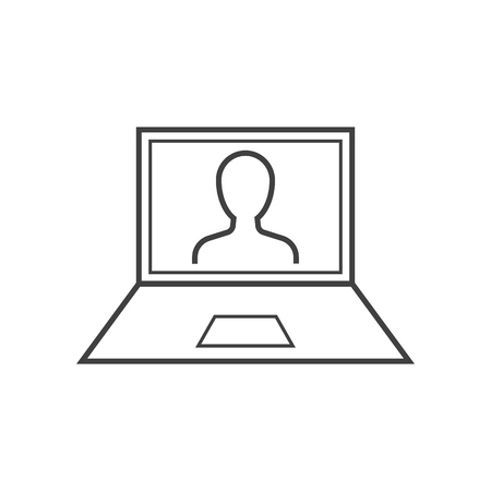 Man on laptop screen outline icon