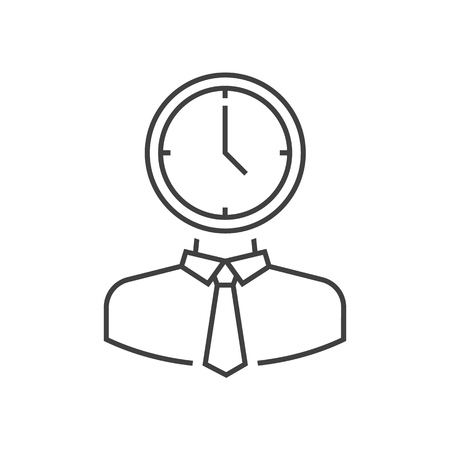 Man with clock head outline icon