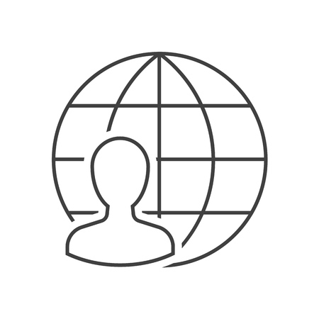 Man with globe outline icon Ilustrace