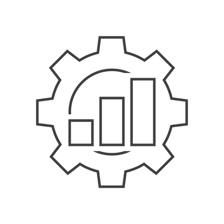 Productivity outline icon. Graph bar with cogwheel