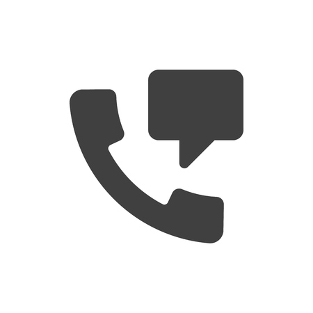 Speech bubble from handset black icon