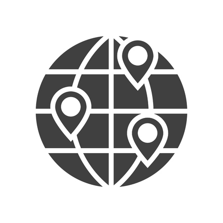 Location on globe black icon on white background