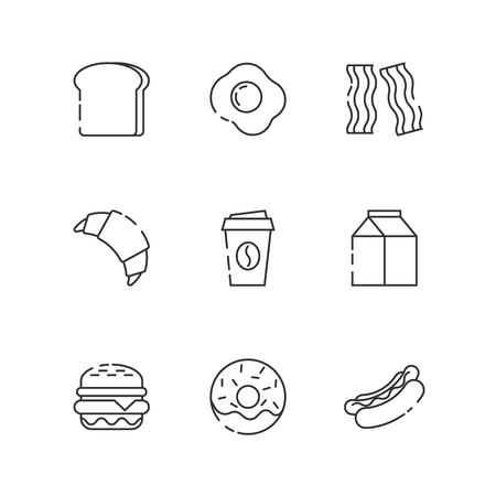 Breakfast and fastfood outline icons on white