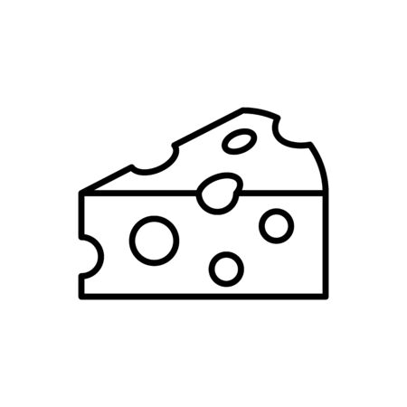 Cheese outline icon on white background. Piece of cheese Иллюстрация