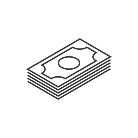 Money stack outline icon on white background