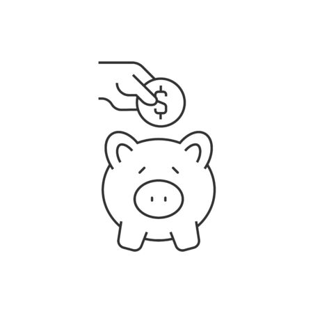 Putting coin in piggy bank illustration with outline icons