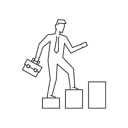 Businessman going up the stairs outline illustration Banque d'images - 131897343