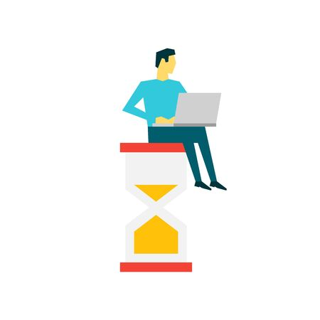 Businessman with laptop sitting on a big hourglass. Time management concept Ilustrace