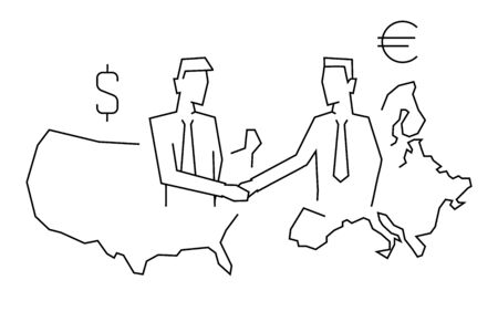 International deal usa with europe outline illustration