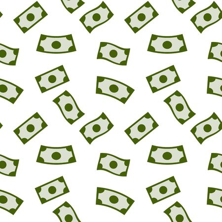 Money rain seamless pattern with green banknotes