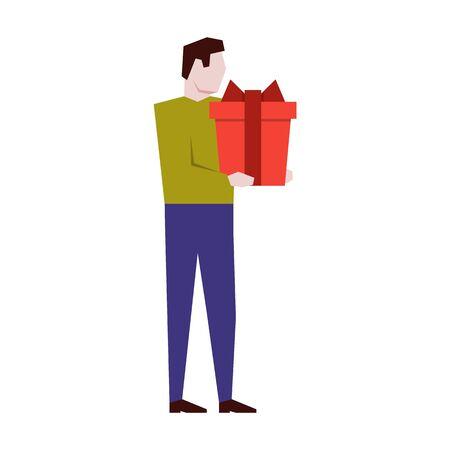 Man holding a big gift box. Vector illustration flat design