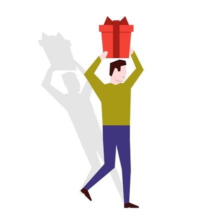 Man holding a gift box over his head. Vector illustration Stock Illustratie