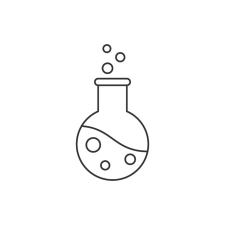 Flask line icon on white background. Editable stroke
