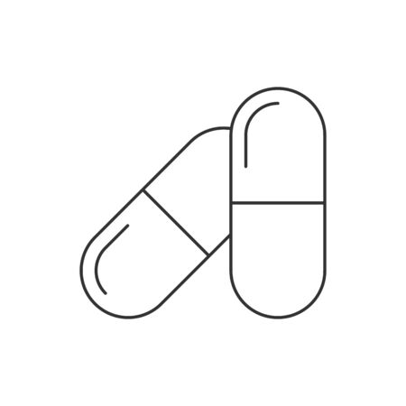 Pills in capsules line icon on white background