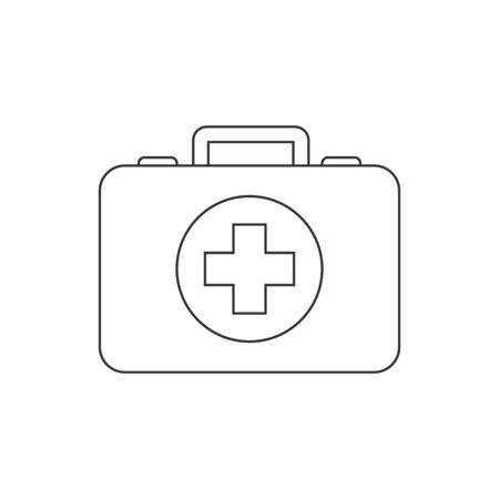 First aid kit line icon on white background Çizim