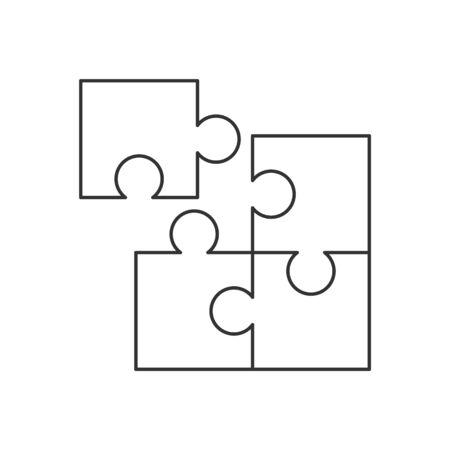 Vierteiliges Puzzle-Liniensymbol auf weißem Hintergrund