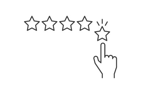 Hand giving five star rating line icon on white stroke. Editable stroke