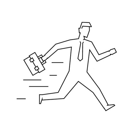 Businessman with case running linear illustration on white background