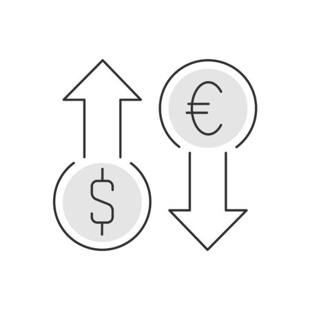Currency exchange linear illustration on white background