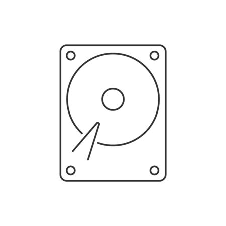 Hard drive linear icon on white background Çizim