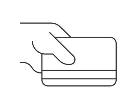 Pay by credit card linear icon on white background. Editable stroke