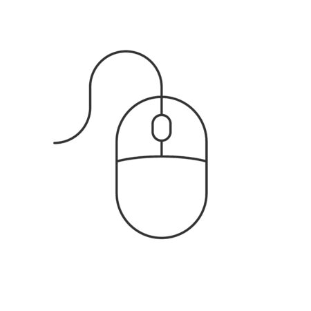Computer mouse linear icon on white background