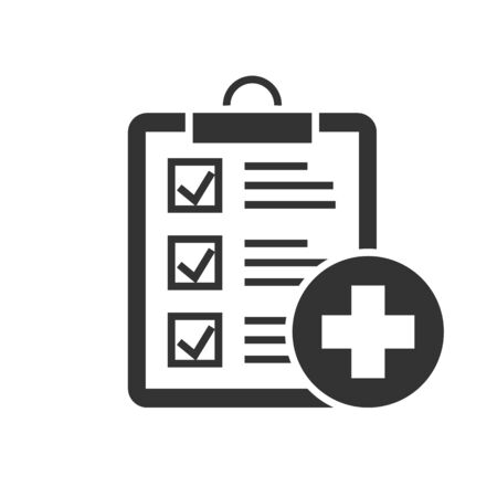 Medical report black icon on white background. Diagnostic record vector illustration