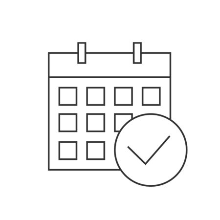 Calendar checkmark icon linear icon on white background. Editable stroke
