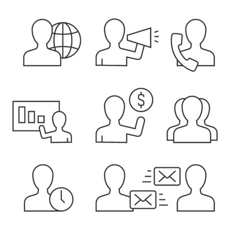 Business people acting avatar linear icons on white stroke