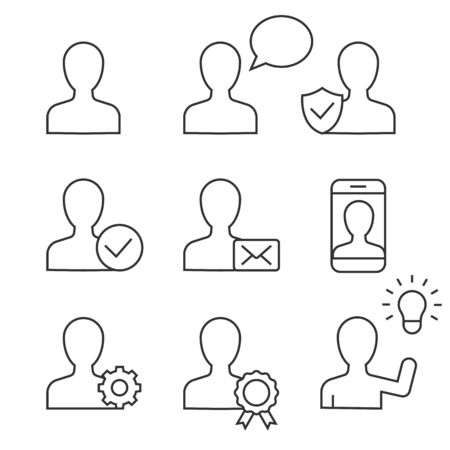 User linear icons on white background. Editable stroke