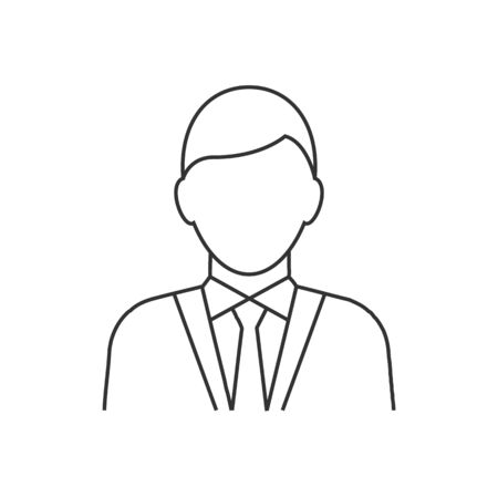 Businessman avatar line icon on white background